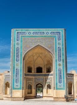 Фасад мечети калян в бухаре, узбекистан. центральная азия