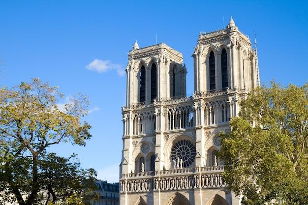 ノートルダム大聖堂教会のファサード、側面図、パリ、フランス