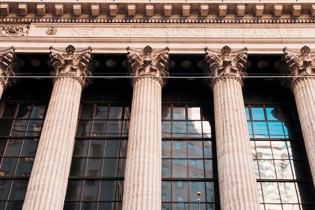 Facade of old building with columns of new york stock exchange