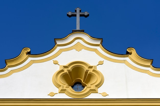 Facade of old church in colonial style, sao paulo, brazil