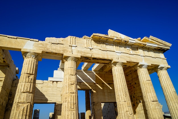 Facade of propylaea, gateway to acropolis built with marble and limestone