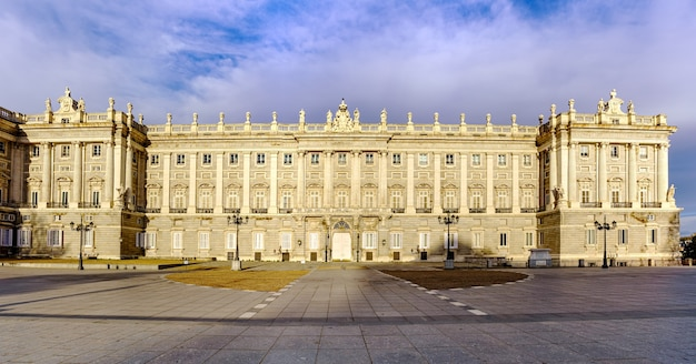 Facade of the royal palace of madrid at dawn, spectacular building residence of kings. spain.