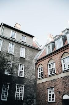 Facade of traditional european buildings