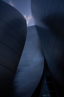 Facade of walt disney music concert hall in los angeles, california