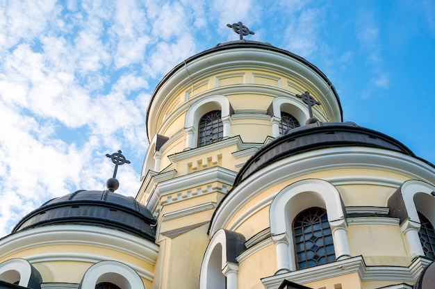 Facade of the winter church situated in capriana monastery. good weather in moldova