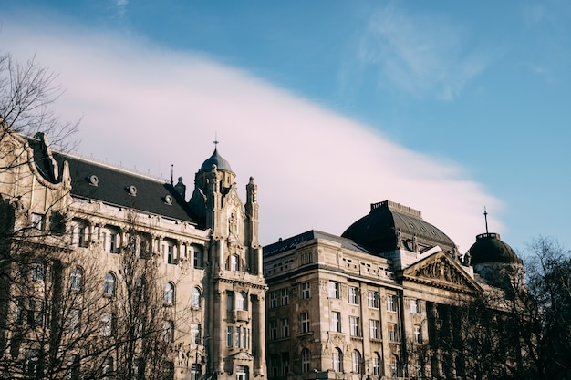 Facades of beautiful old buildings in budapest