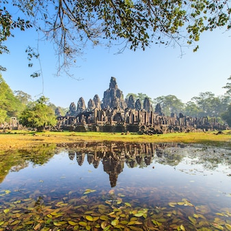 Face of bayon castle in angkor thom, cambodia