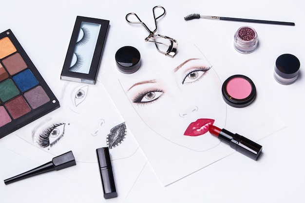 Face charts and different makeup objects and cosmetics