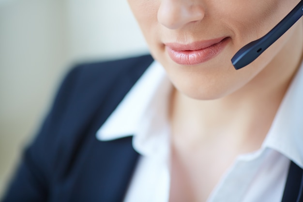 Face close-up of female executive working