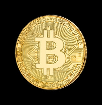 Face of the crypto currency golden bitcoin on black