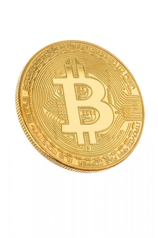 Face of the crypto currency golden bitcoin on white