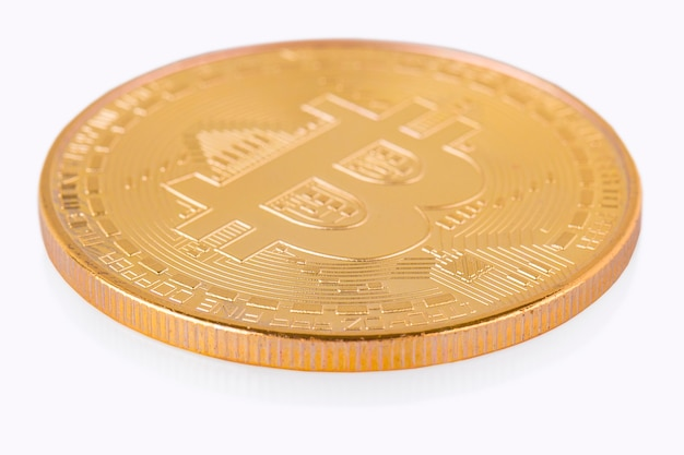Face of the crypto currency golden bitcoin