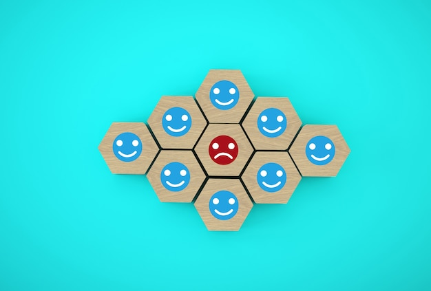 Face emotion happiness and sadness, unique, think different. wooden hexagon cubes