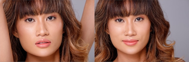 20代のアジア人女性の顔のヘッドショットの肖像画日焼けした肌茶色のブロンドの髪のスタイル化粧品メイク。女の子は目に感情を表現し、灰色の背景にカメラを見て分離