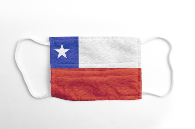 Face mask with printed chile flag, on white background, isolated.