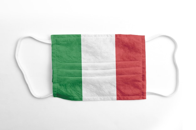 Face mask with printed italy flag, on white.