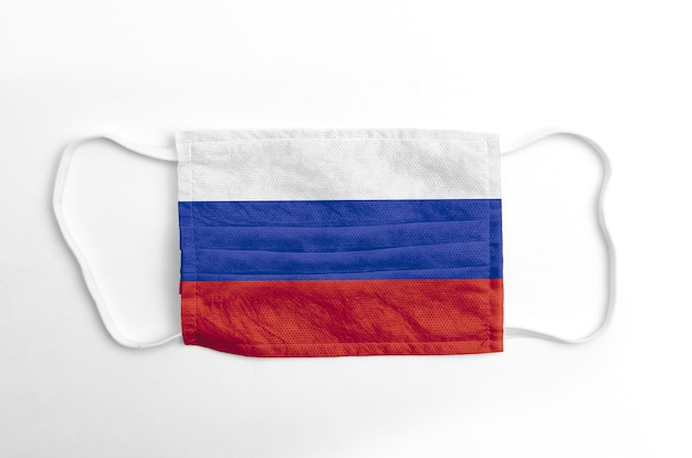 Face mask with printed russia flag, on white.