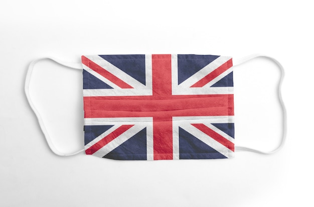 Face mask with printed  uk flag, on white.