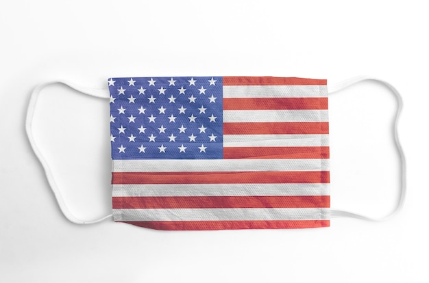 Face mask with printed usa flag, on white.