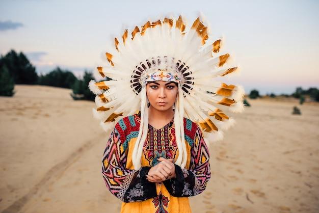 アメリカインディアンの女性、チェロキー、ナバホの顔