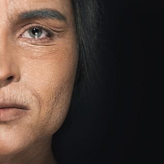 年配の女性の顔