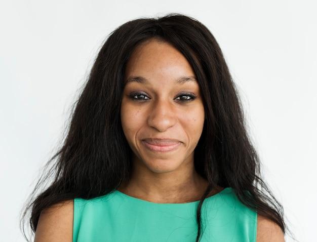 Face shoulders black girl cheerful portrait