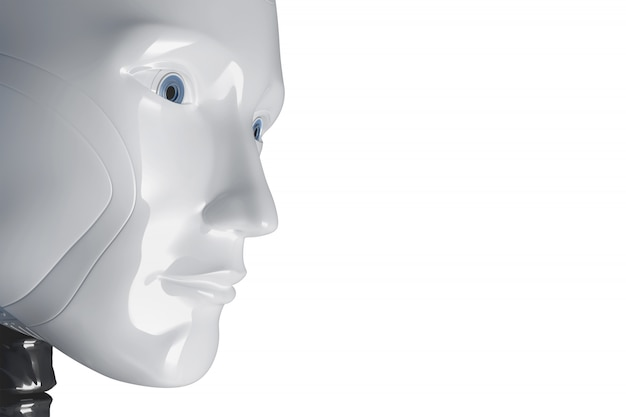 The face of a white robot. 3d illustration