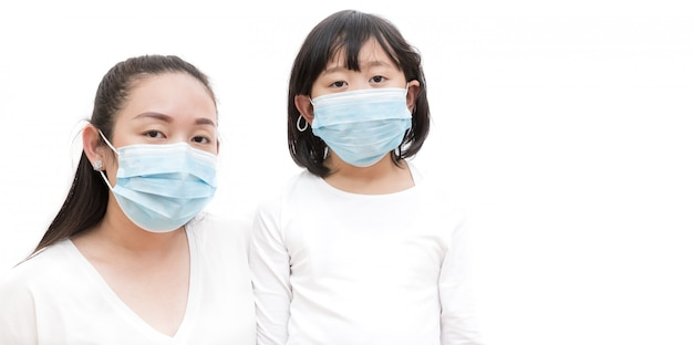 Face of a young asian woman and family wearing mask to prevent germs, toxic fumes, and dust. prevention of bacterial infection