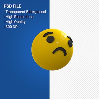 Facebook 3d emoji reactions sad isolated