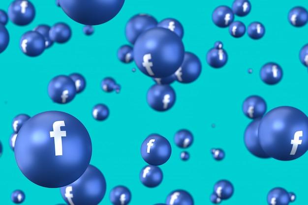 Реакции facebook смайликов 3d визуализации премиум фото, символ социальных медиа шар с facebook до иконы шаблон