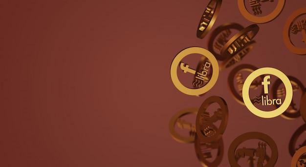 Весы facebook 3d рендеринг контента криптовалюты.