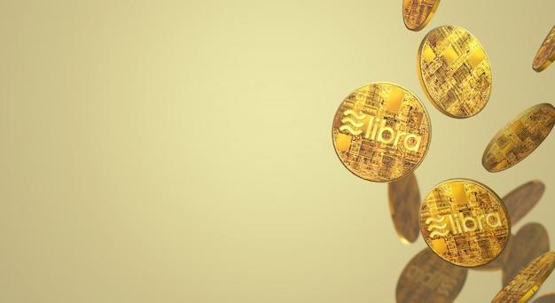 天秤座facebookの3dレンダリング暗号通貨コンテンツ。