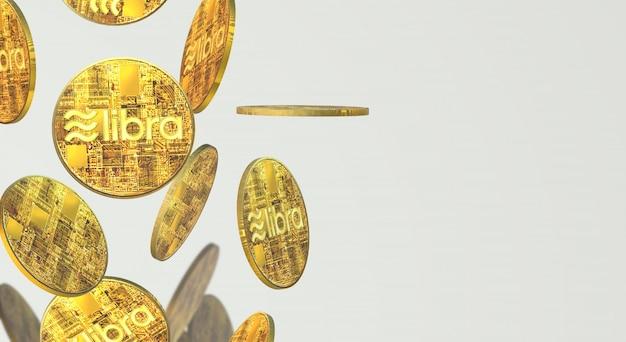 金貨天秤座facebookの3dレンダリング暗号通貨コンテンツ。