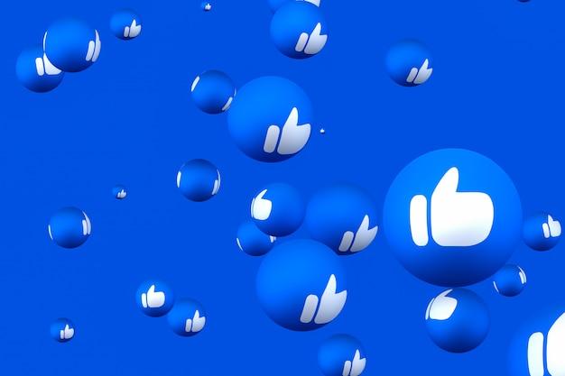 Реакции facebook смайликов 3d визуализации премиум фото, символ социальных медиа шар с как пальцы вверх иконки шаблон