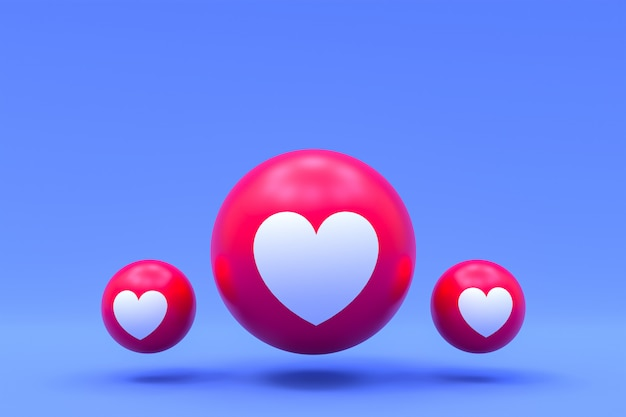 Реакции facebook любят смайликов 3d визуализации премиум фото, символ социальных медиа с сердцем,