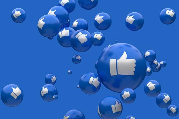 Реакции facebook смайликов 3d визуализации премиум фото, символ социальных медиа шар с большими пальцами вверх иконки шаблон