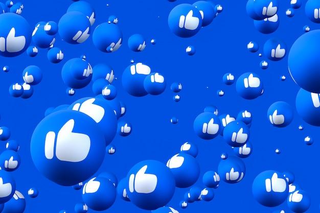 Facebook реакции смайликов 3d визуализации премиум фото, символ социальных медиа шар с как пальцы вверх иконки шаблон