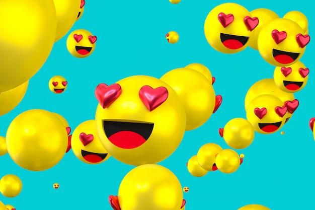 Реакции facebook любят смайликов 3d визуализации, символ социальных медиа шар с как