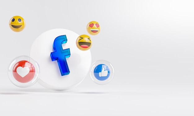 Facebook acrylic glass logo and social media icons copy space 3d