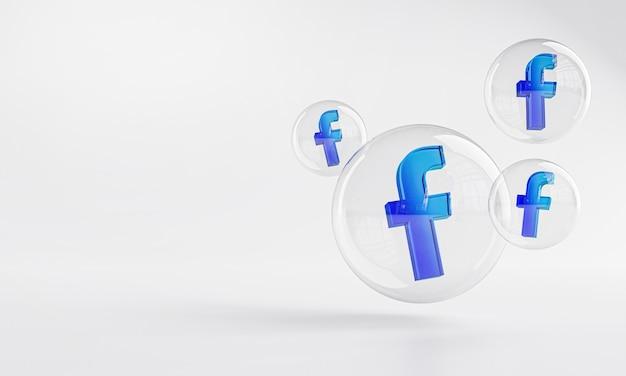 Акриловый значок facebook внутри пузырькового стекла с копией пространства 3d