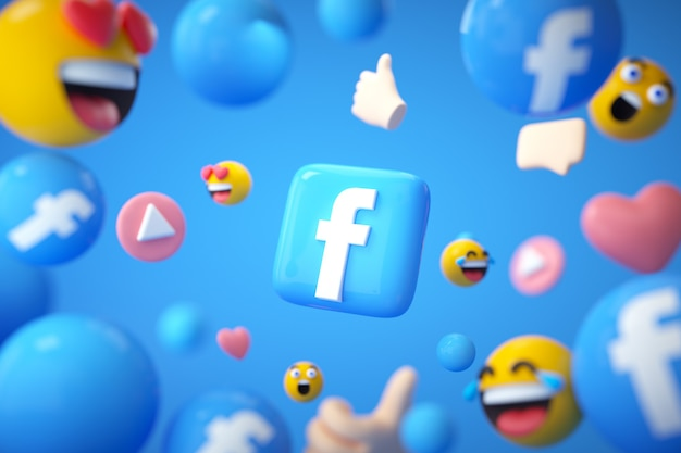 Facebook application background with emoji and floating objects