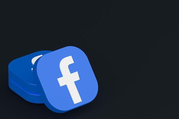 Facebook application logo 3d rendering on black background