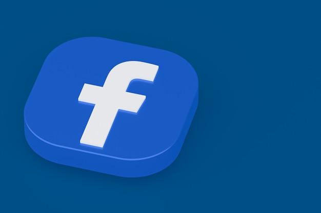 Facebook application logo 3d rendering on blue background