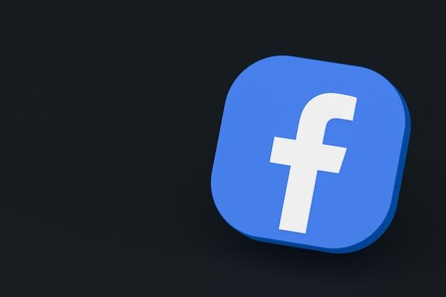 3d-рендеринг логотипа приложения facebook на черном фоне