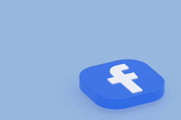 3d-рендеринг логотипа приложения facebook на синем фоне