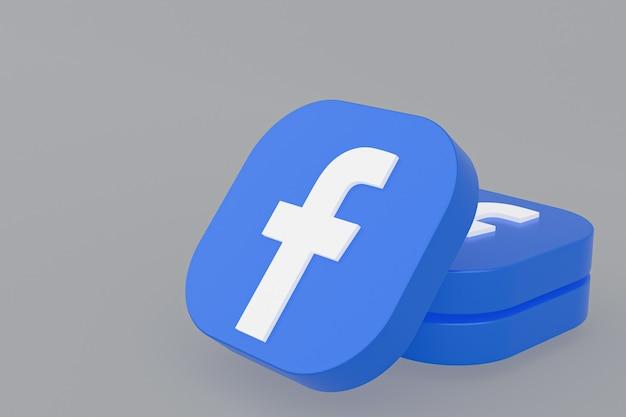 3d-рендеринг логотипа приложения facebook на сером фоне