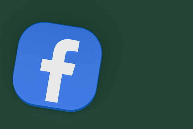 3d-рендеринг логотипа приложения facebook на зеленом фоне