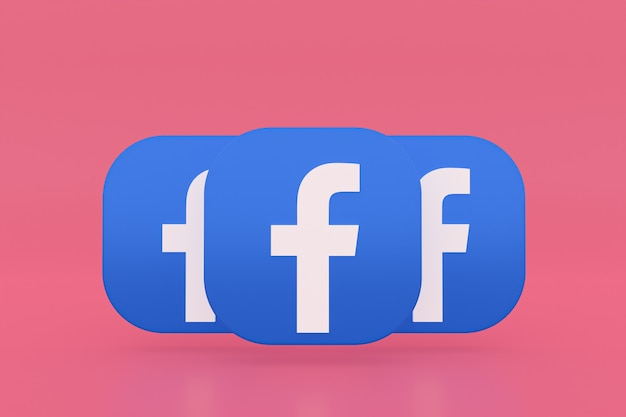 3d-рендеринг логотипа приложения facebook на розовом фоне