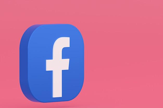 ピンクの背景にfacebookアプリケーションのロゴの3dレンダリング