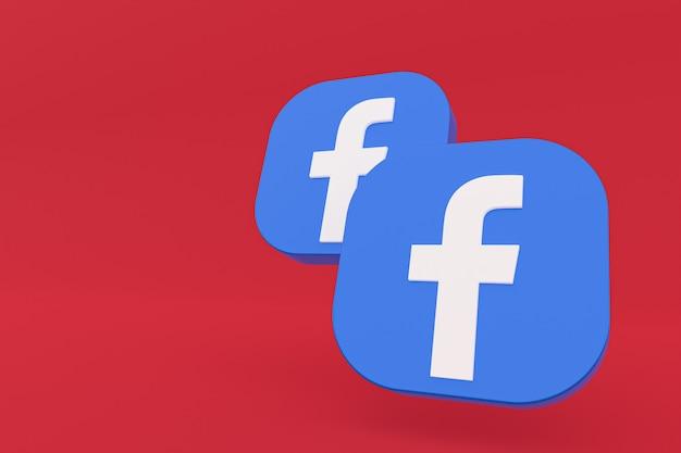 3d-рендеринг логотипа приложения facebook на красном фоне